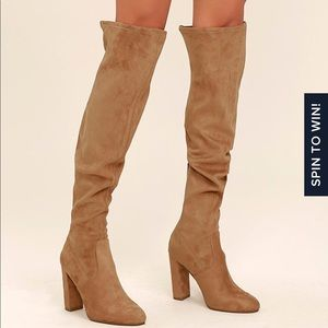 Steve Madden over the knee camel suede boots